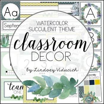 Watercolor Succulent Theme Classroom Decor Editable Classroom