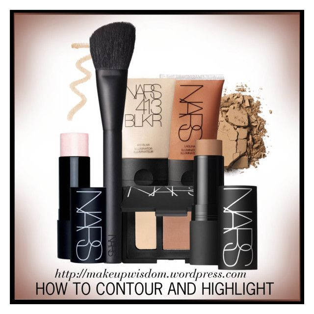 """""""Face Contouring & Highlighting Tutorial"""" by divine-designer ❤ liked on Polyvore featuring beauty, Topshop, Benefit and NARS Cosmetics"""