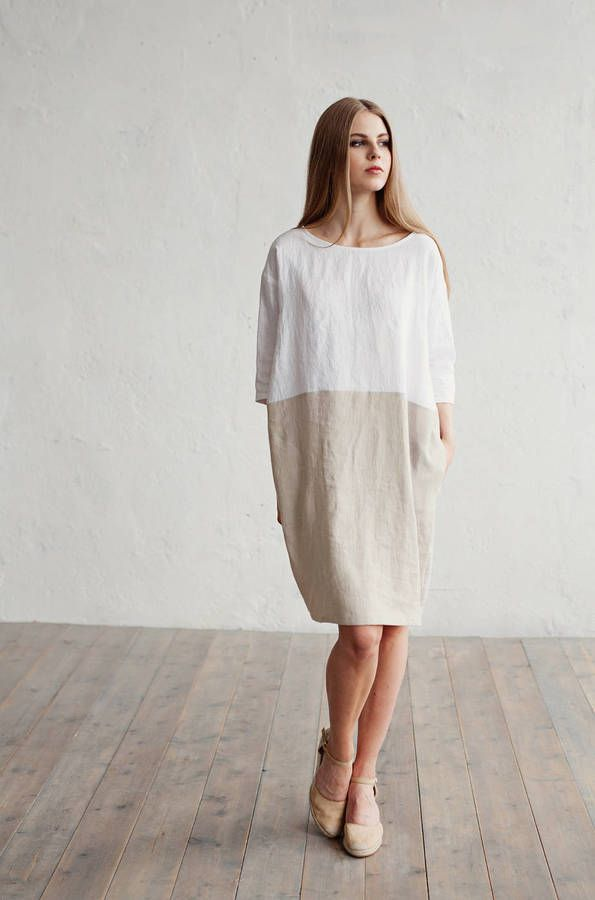 b89b5391ad6 Etsy Linen dress. White and natural linen colours