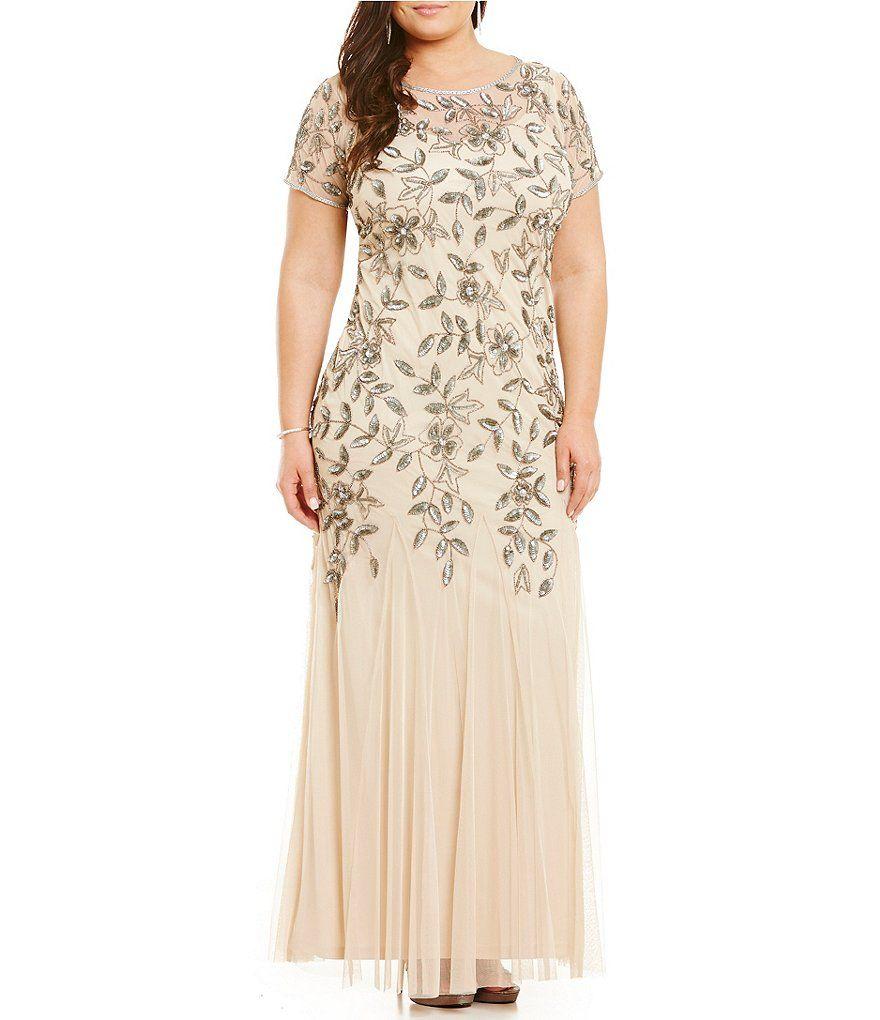 Brianna Plus Round Neck Short Sleeve Sequined Blouson Gown ...
