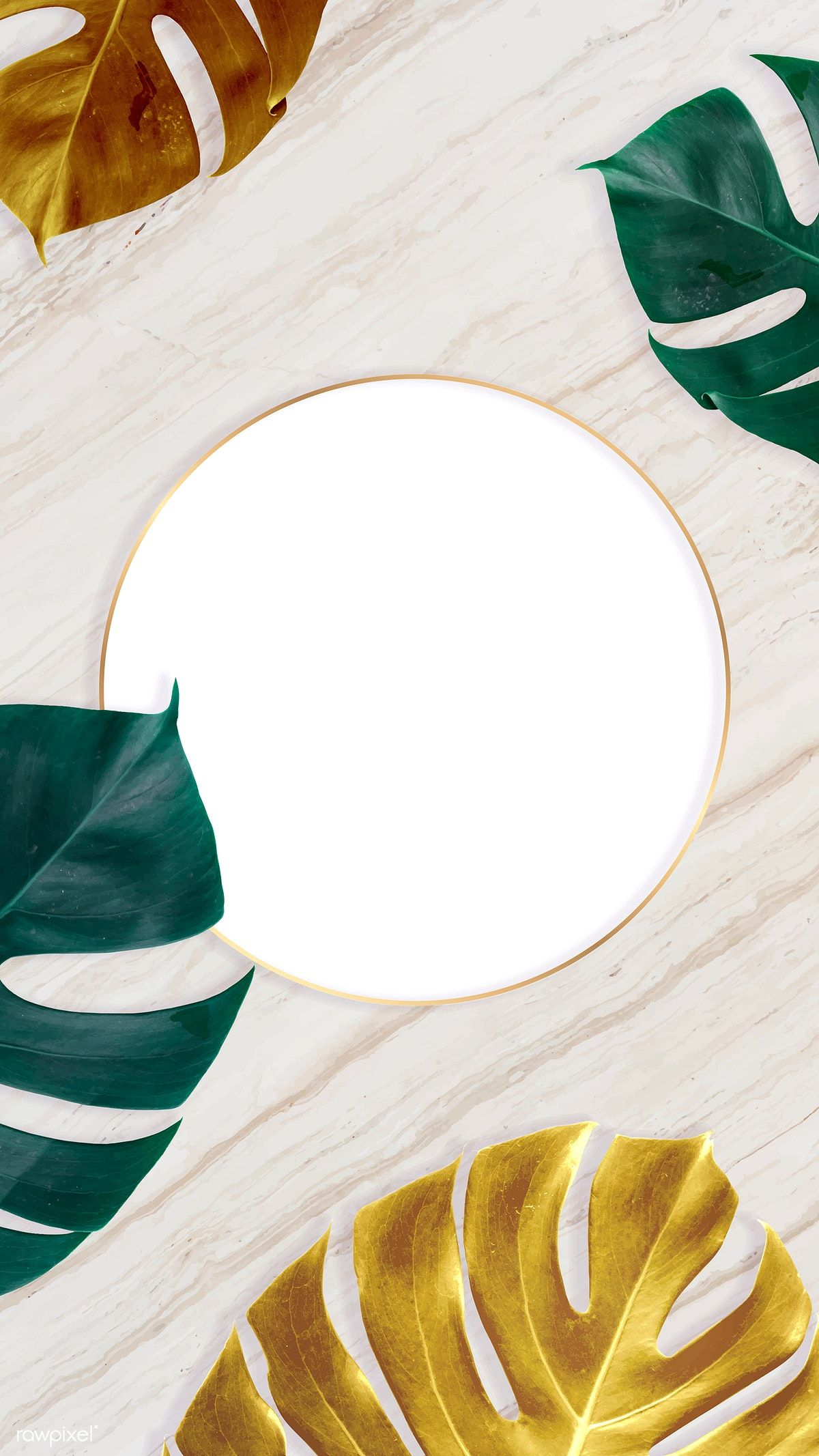 Download premium vector of Round golden nature frame on a ...