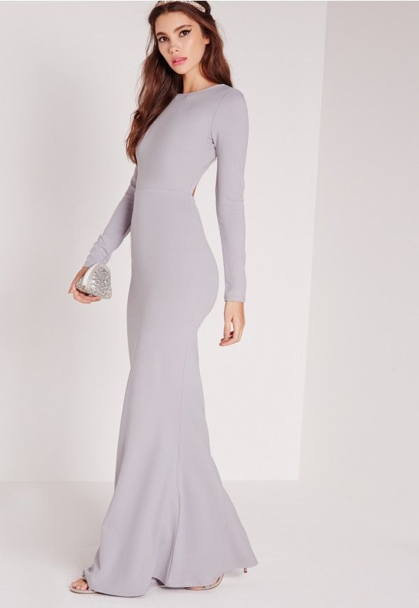 Long Sleeve Open Back Maxi Dress Grey - Missguided | Prom dresses ...