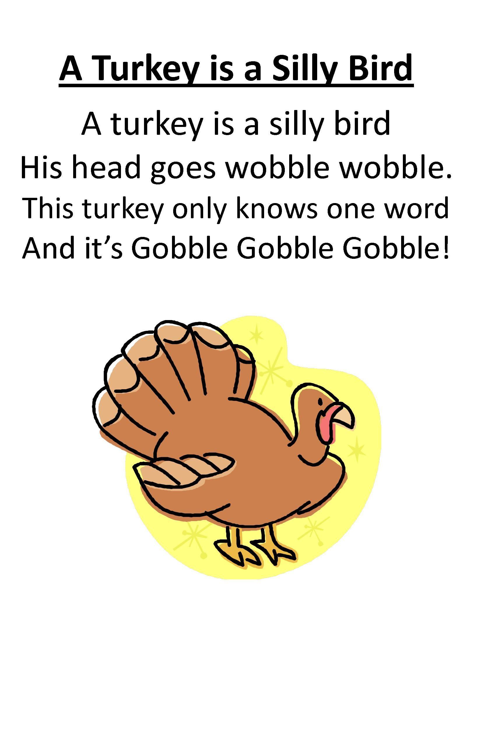 Itty Bitty Rhyme A Turkey Is A Silly Bird