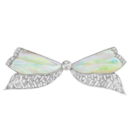 Edwardian Platinum, Carved Opal and Diamond Bow Brooch