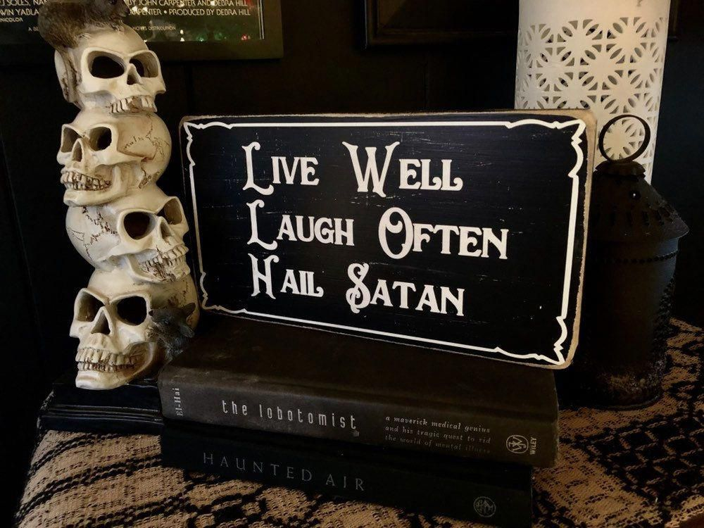 Photo of Hail Satan, Wood Sign, Goth, Home Decor, Witchcraft, Occult, Satanism, Horror, Atheist, Gift Idea, Rustic, Witch Decor, Macabre, Spooky