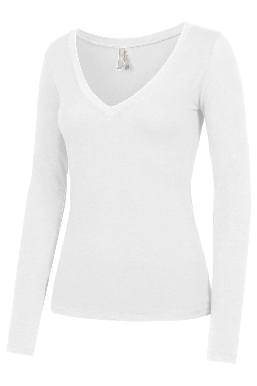 17f9aed6977 Every woman needs a lightweight fitted long sleeve v-neck cotton shirt with  stretch in her closet. Its versatile and comfortable at the same time.