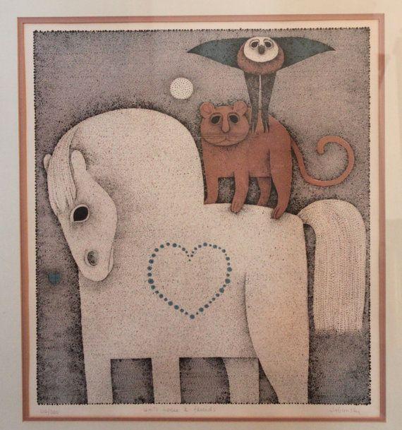 Carol Jablonsky White Horse & Friends Signed Numbered by sgweaver