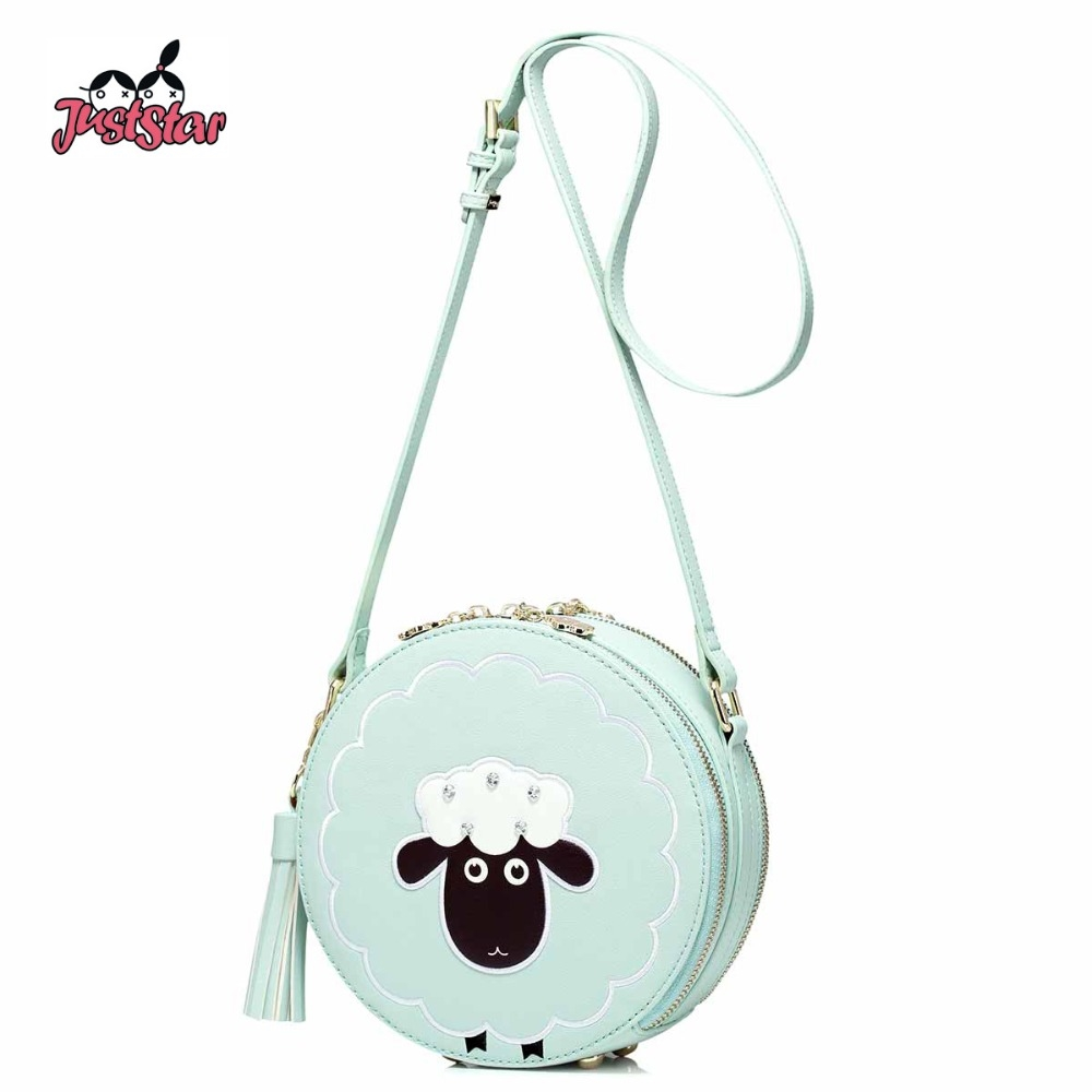 42.25$  Buy here - http://alisp3.shopchina.info/go.php?t=32808307175 - JUST STAR Women PU Leather Messenger Bag Ladies Embroidery Cartoon Sheep Purse Female Tassel Circular Mini Crossbody Bags JZ4445 42.25$ #aliexpresschina