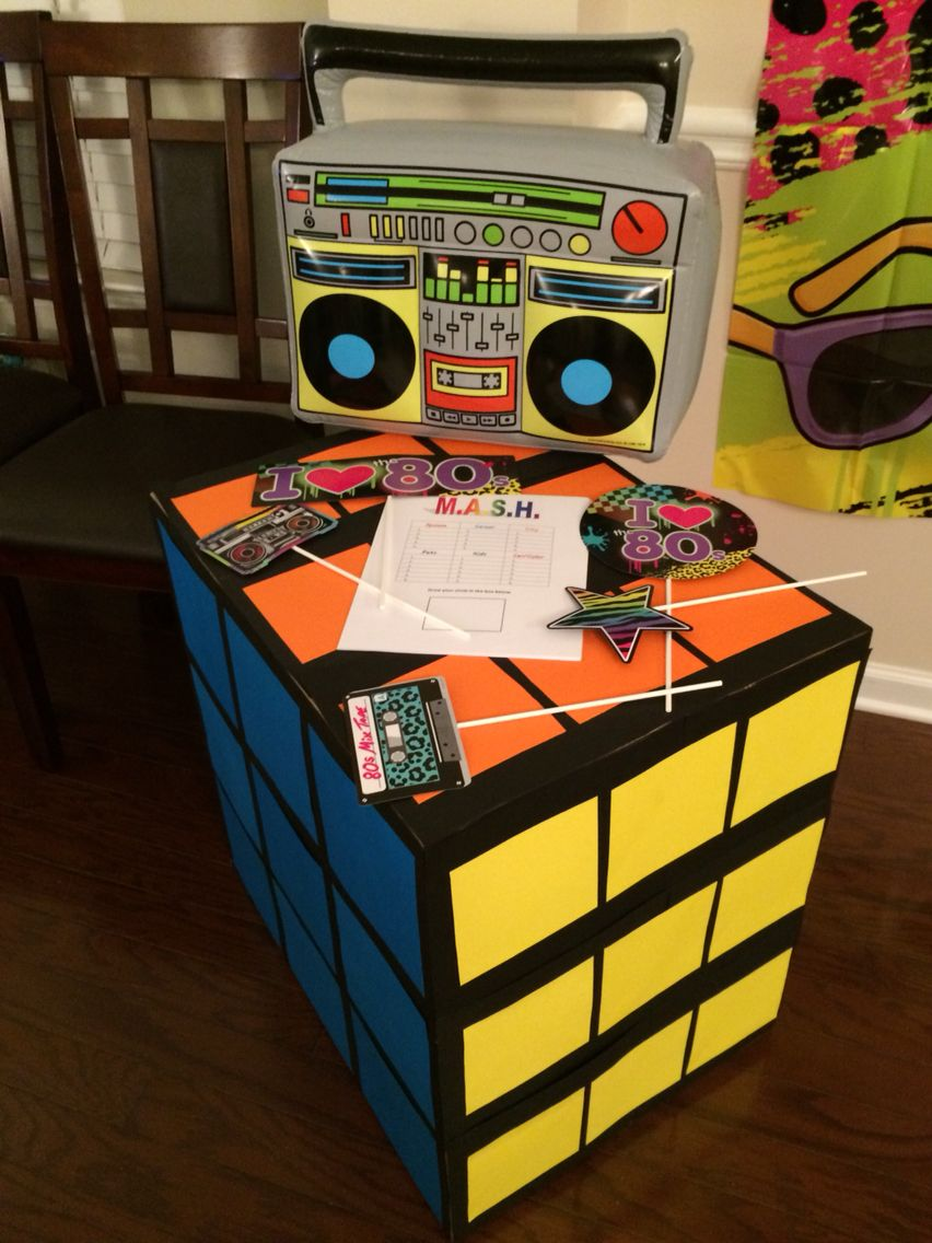 Custom Life Size Rubik S Cube For 80s 90 S Party And Diy Photo Booth Props With The Help Of Party City Cu Diy Photo Booth Diy Photo Booth Props 90s Photo Booth