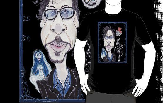 Tim Burton Director Funny Caricature Art Drawing Dark Gothic Fantasy T-Shirt
