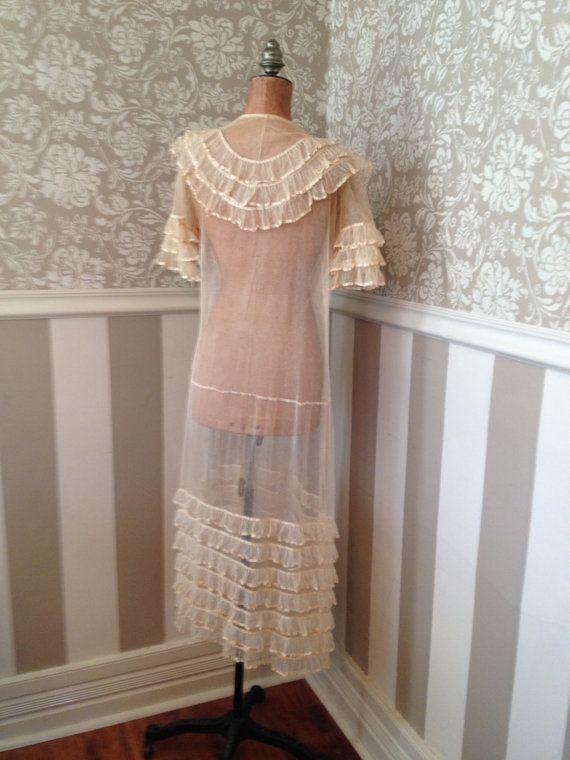 Art Deco Dress Flapper Ruffle Sheer Silk Net by stellaranae