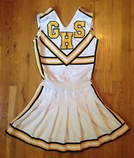 c38ecdcd72c Vintage Greenwood Indiana Cheerleader Uniform Outfit Yellow White Green  Size S-M