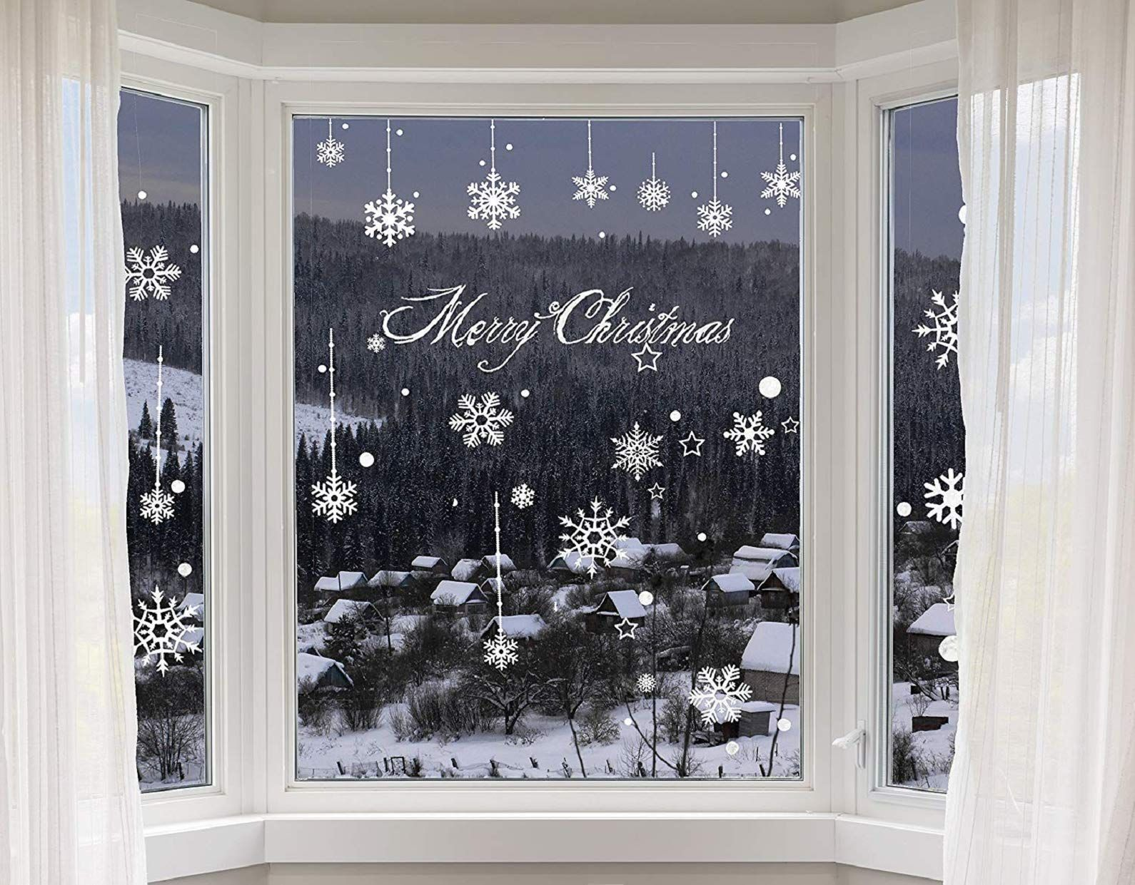 Decorazione Finestre Per Natale : Heekpek adesivi fiocchi neve di natale fiocchi di neve decorazione