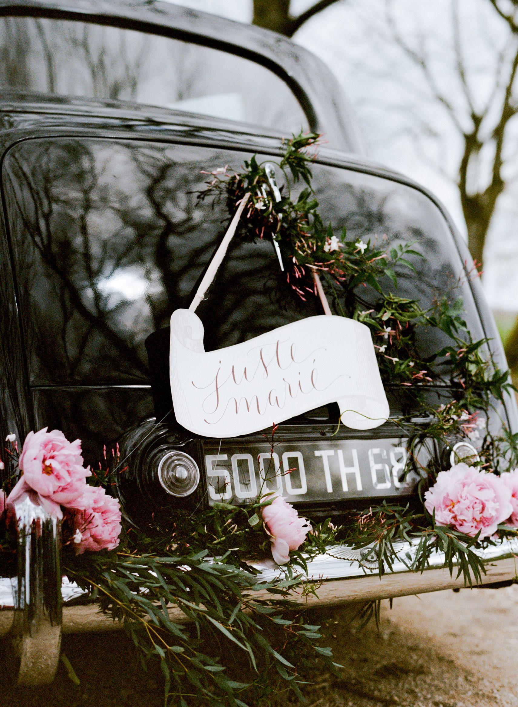 Wedding car decorations just married  Charming Burgundy Wedding Inspiration  Wedding getaway car