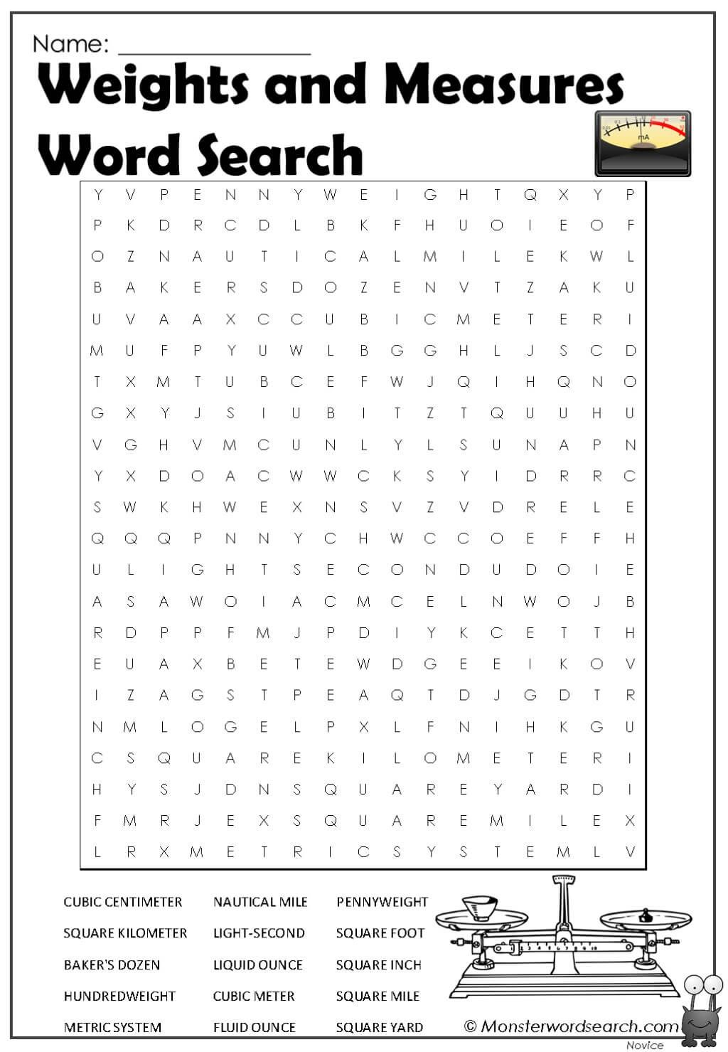 Weights And Measures Word Search In