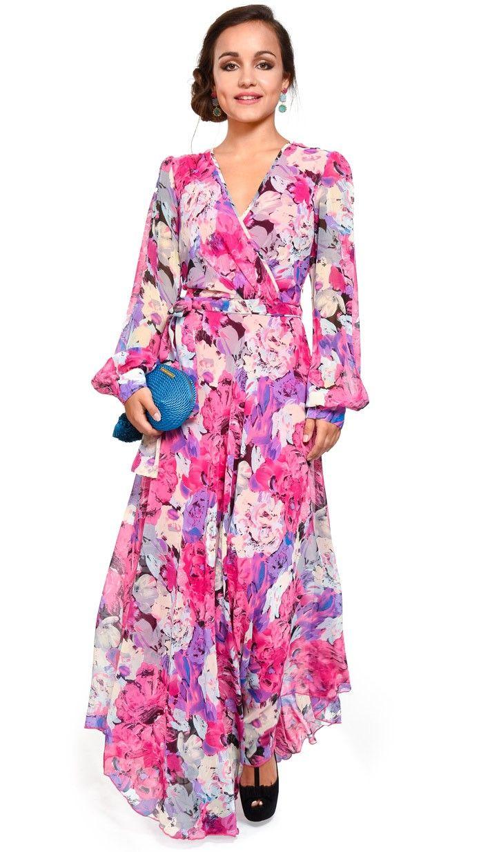 vestido largo estilo batin ultima moda en alquiler para evento de ...