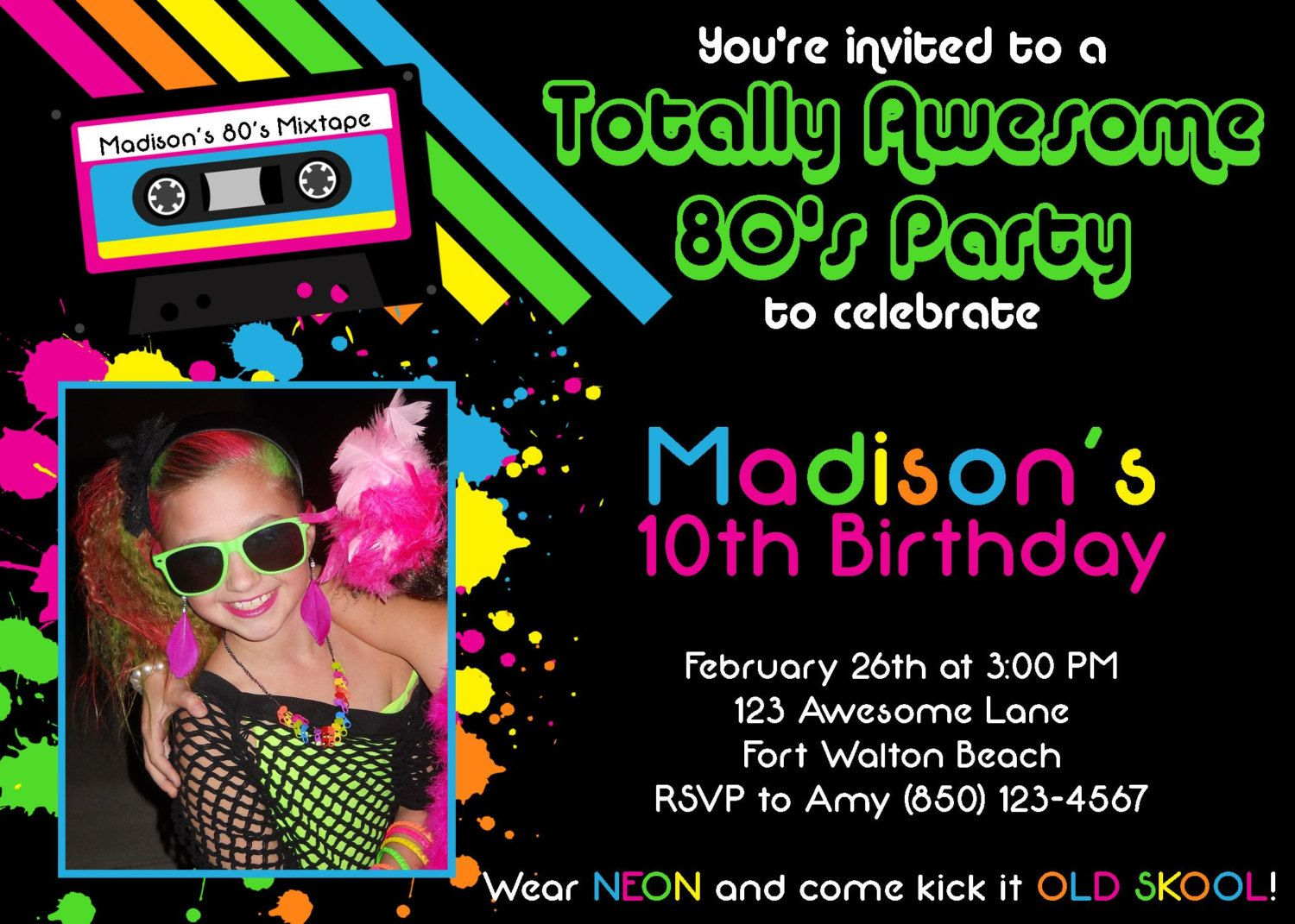 Awesome 80's Party Invitation - Girl Birthday PRINTABLE. $10.00 USD, via Etsy.