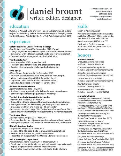 Daniel Brount Page Designer  Copy Editor Blog and Creative - Copy Editor Resume