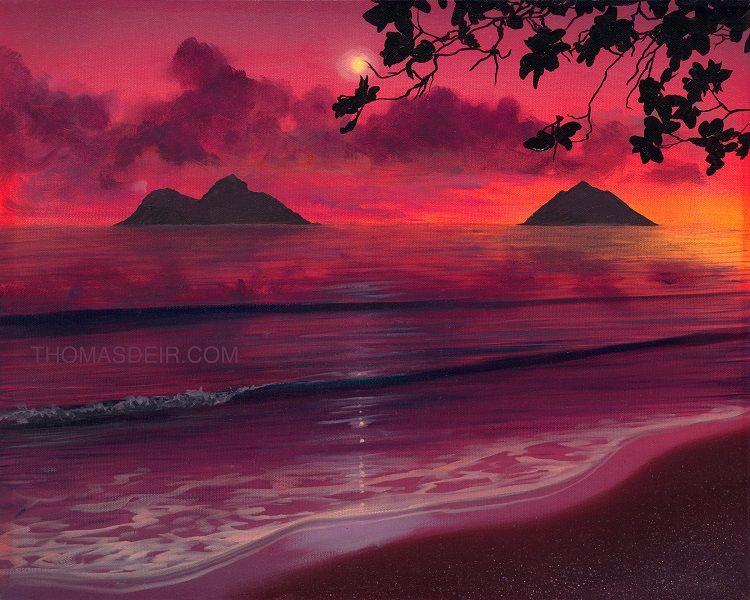 Hawaii Wall Art Lanikai Beach Sunrise Painting Hawaii