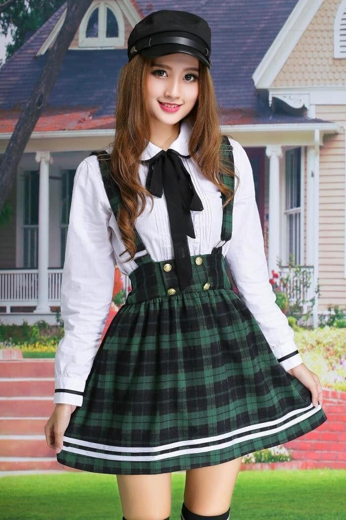 54c1cb16ede7 Korea cute student uniform shirt + short skirt two-piece outfit in green,  red, khaki or blue in size S to XXL! Use code