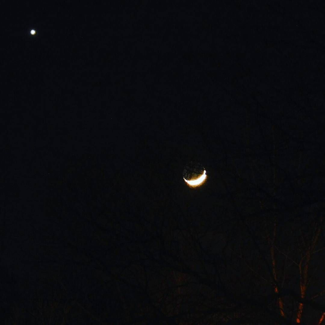 Last night's crescent moon with UFO! (UFO may actually be the planet Venus.) #moon #venus #space #astronomy