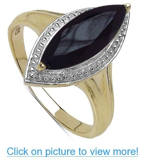 2.50 Carat Genuine Onyx 14k Gold Plated Silver Ring