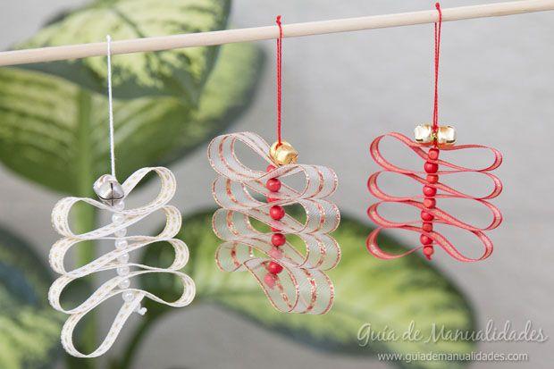 fciles adornos de navidad con cintas y cascabeles