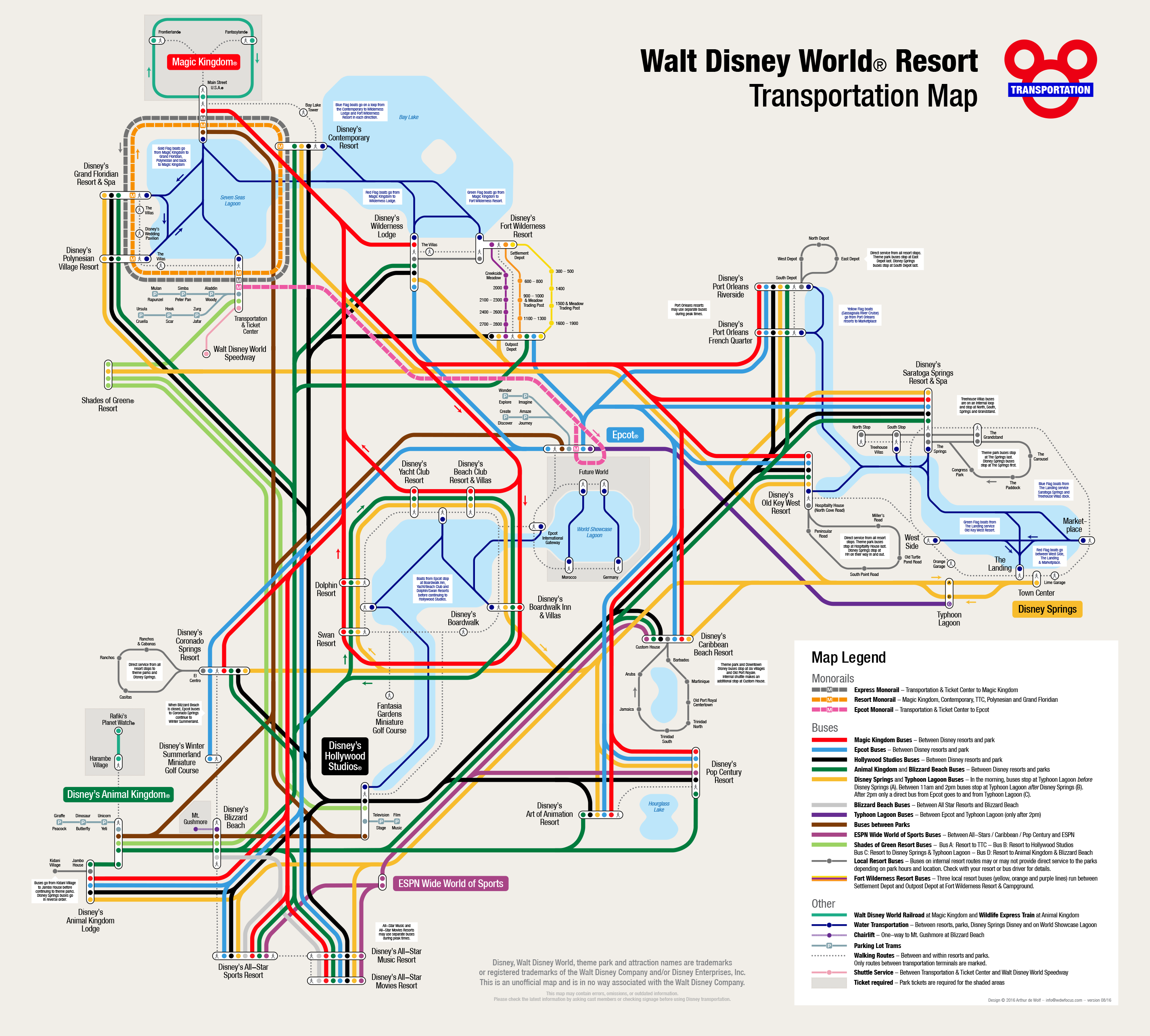 WDW Transportation Map | Walt Disney World | Disney world ...