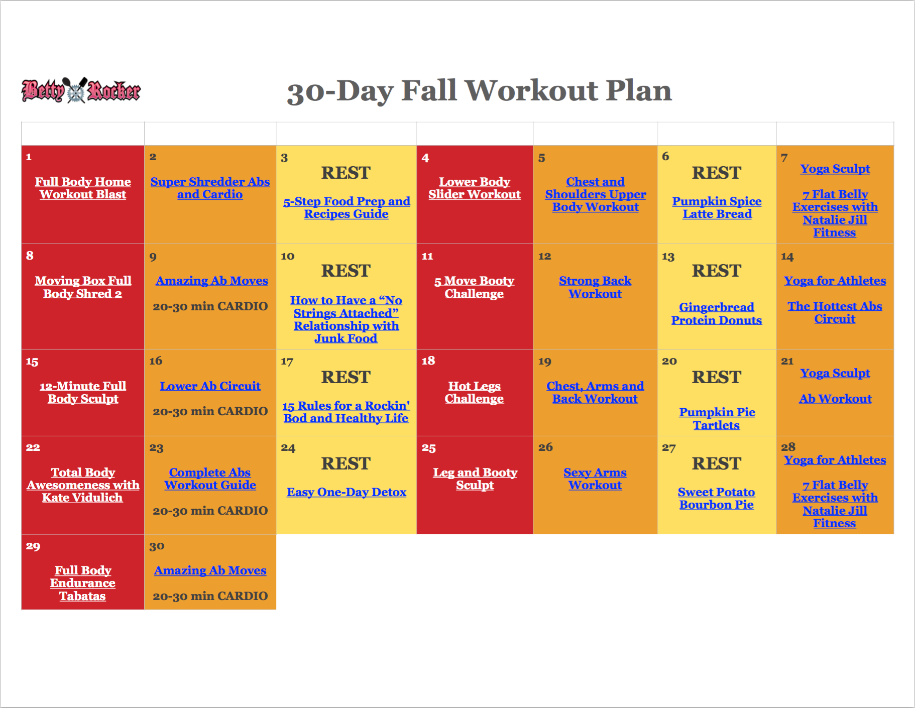 Download Betty Rockers 30 Day Fall Workout Plan And Calendar Start Anytime Home Workouts No Equipment Required