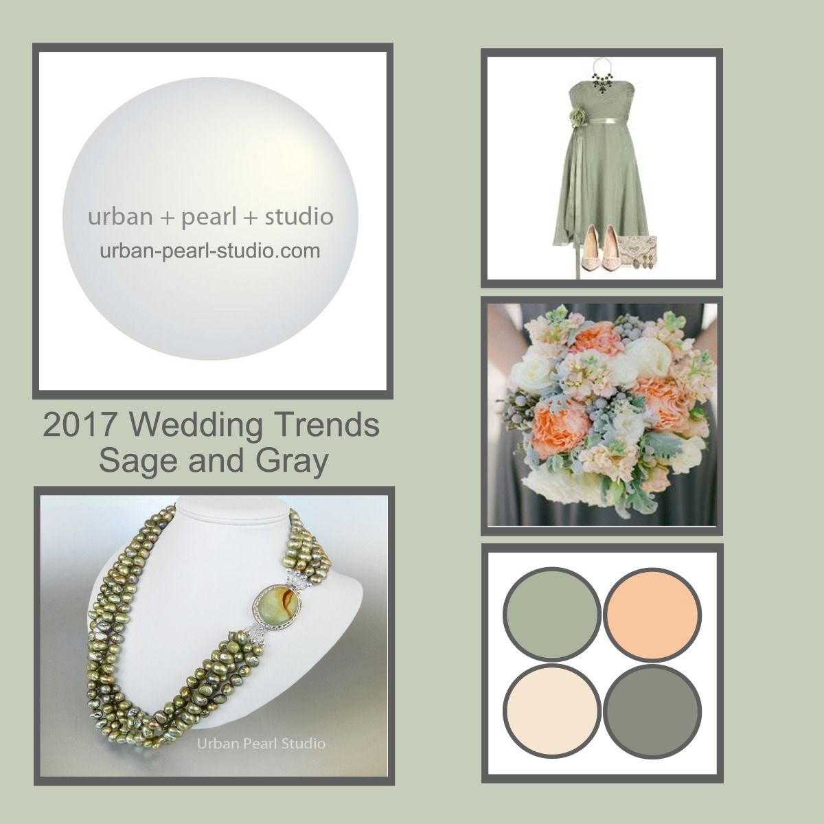 Fabulous Combo Sage Green, Peach And Gray Wedding Colors