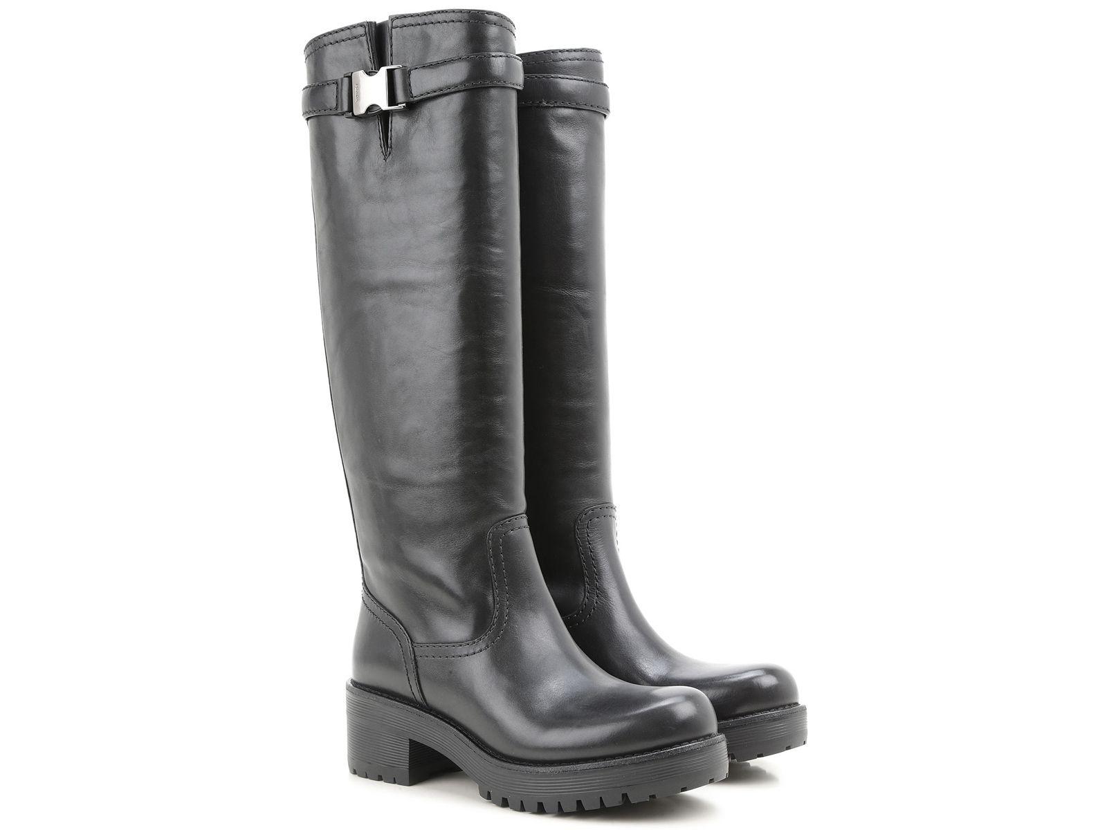 Prada knee high biker boots in black Calf leather - Italian Boutique €471 42acdcd5319