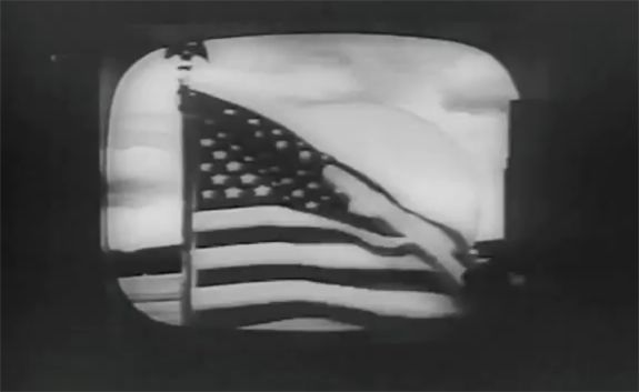 "Telstar's first broadcast image. This is the flag waving outside the Andover Earth Station in Maine. It was broadcast across the Atlantic on July 10, 1962. Mona Evans, ""Telstar - Herald of the Modern Age"" http://www.bellaonline.com/articles"