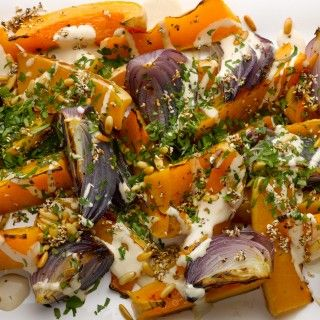 Roast butternut squash and red onion with tahini and za'atar