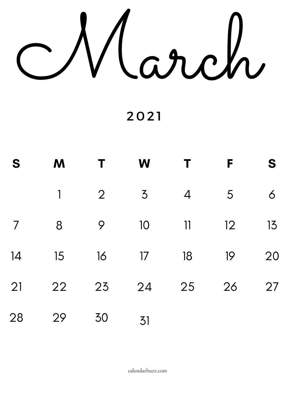 Free March 2021 Calligraphic Calendar Planner Calendar Printables Calligraphy Calendar Calendar