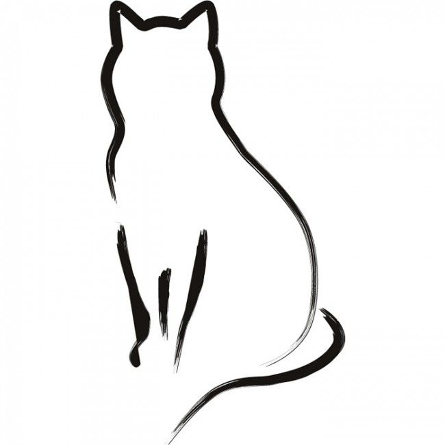 Line Drawing Cat Tattoo : Cat outline wall sticker animal art