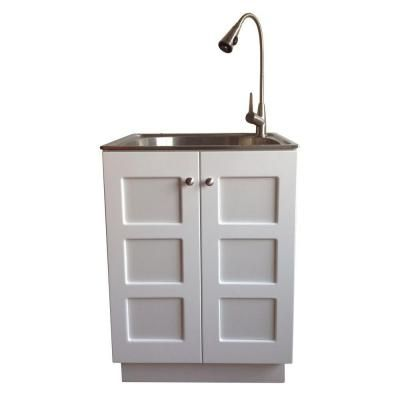 Stainless Steel Laundry Sink With Reversible Door Cabinet High Gloss Pvc Lamination