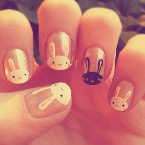 Explore Rabbits, Easter Bunny, and more! - By Elise (@lollipopzi) Nail Art Pinterest Bunny Nails