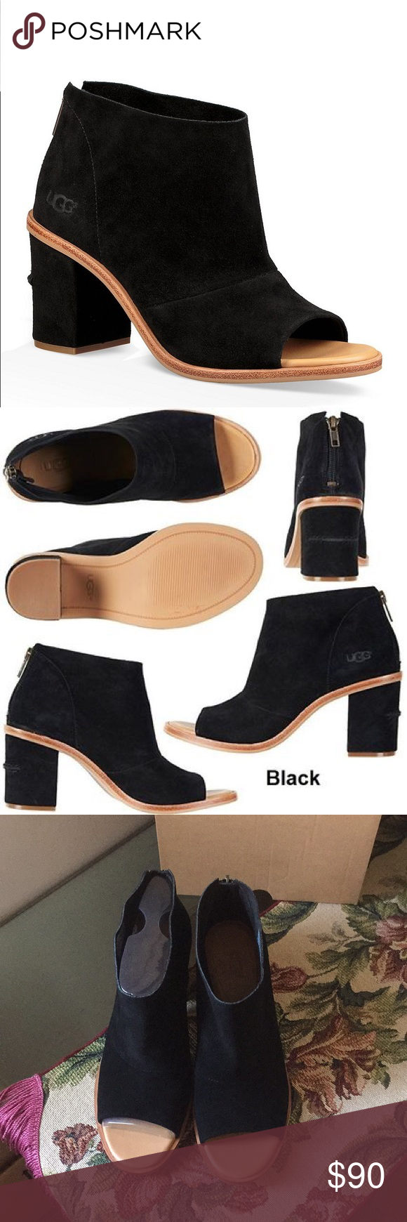 08ec9207305 NEW UGG GINGER BLACK Model: 1019996 This open-toe bootie is crafted ...