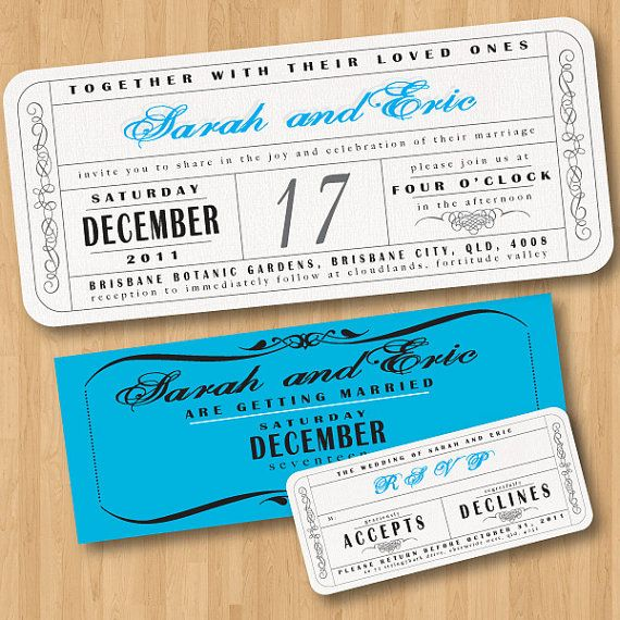 Vintage Wedding Ticket Style Invitations DIY Set (printable)- Love - concert ticket invitations