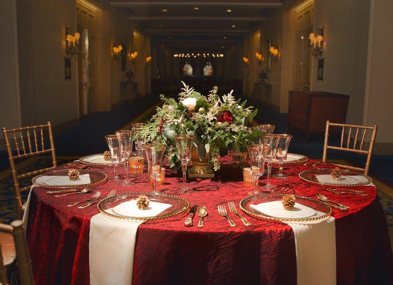 A Gorgeous Nutcracker Themed Wedding Christmas Wedding Table Christmas Wedding Centerpieces Gold Holiday Table