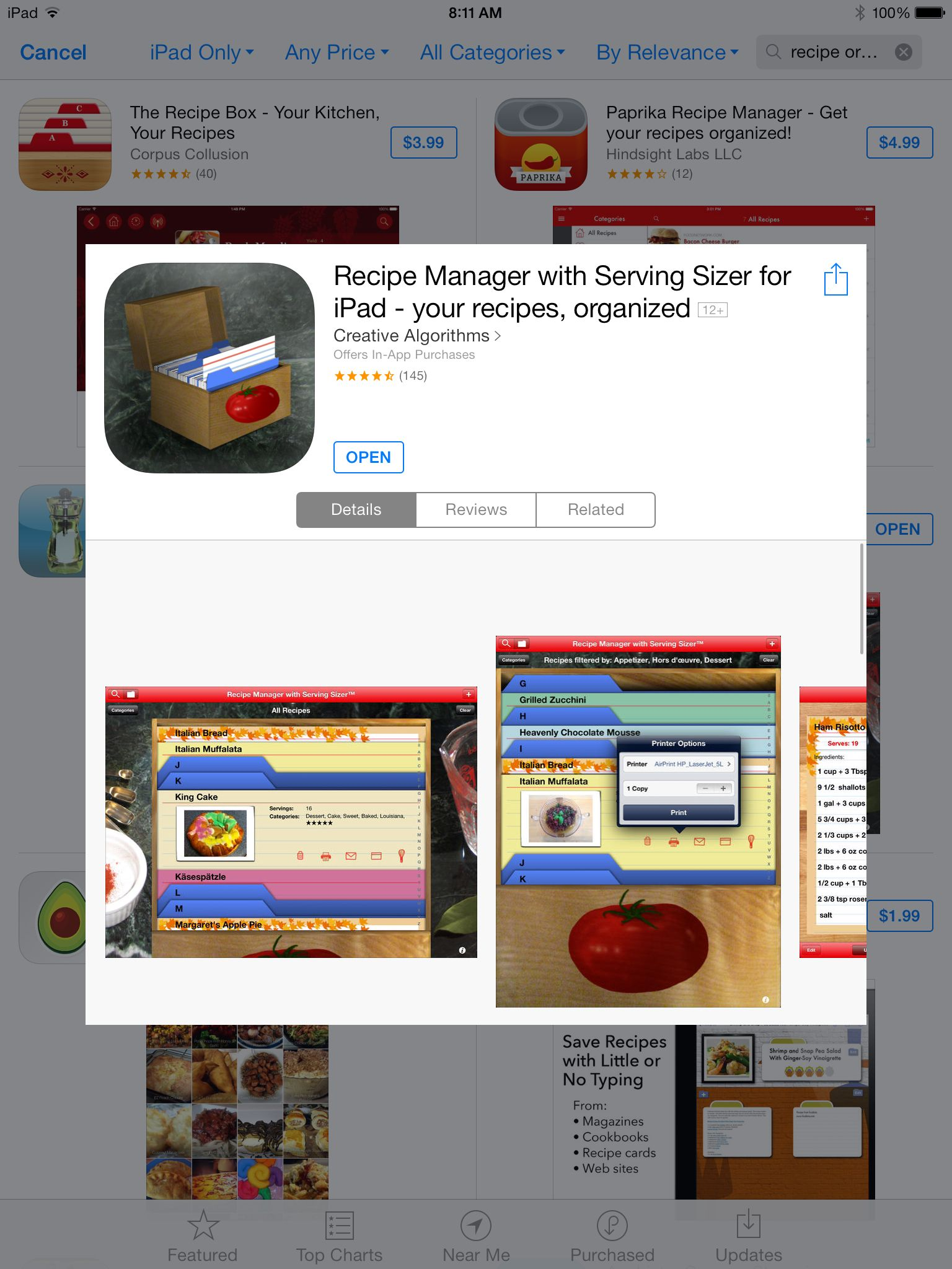 Recipe Organizer for the iPad by Creative Algorithms. This