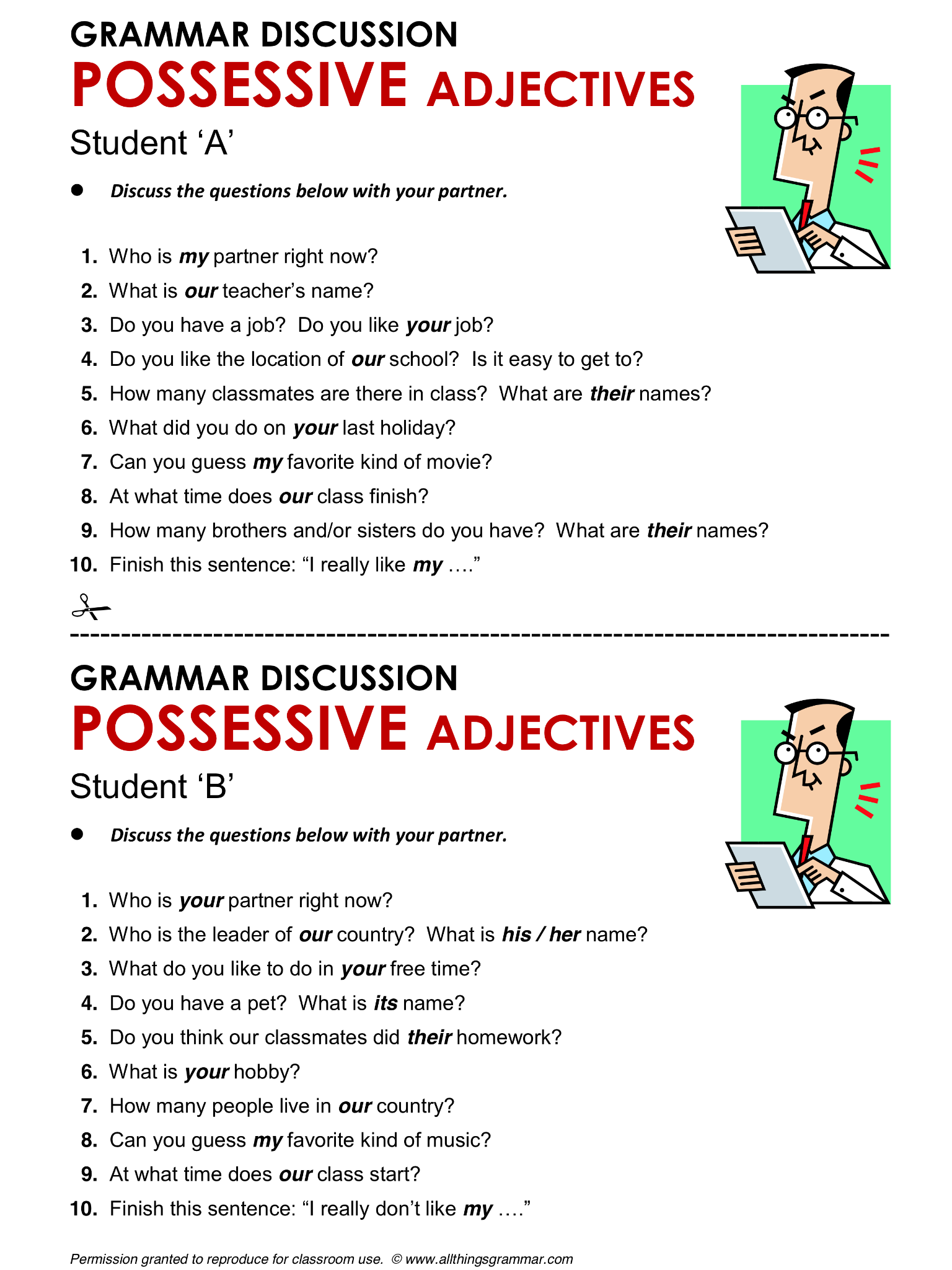 English Grammar Possessive Adjectives Lthingsgrammar Possessive Adjectives