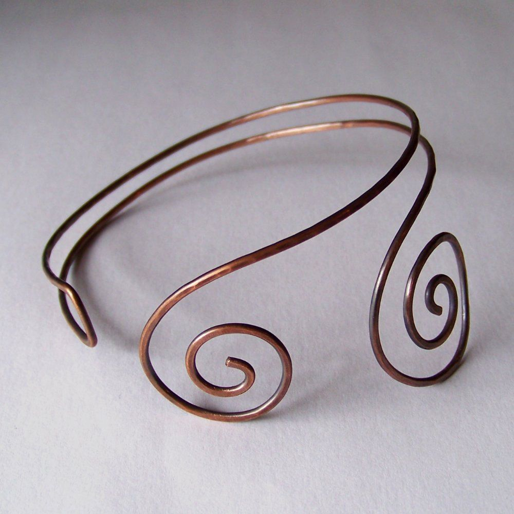Armlet upper arm cuff hammered and oxidized copper