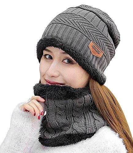 00c7bb73 Aicos Grey Slouchy Beanie Hat Women Lined Thick Knitting Wool Skull ...