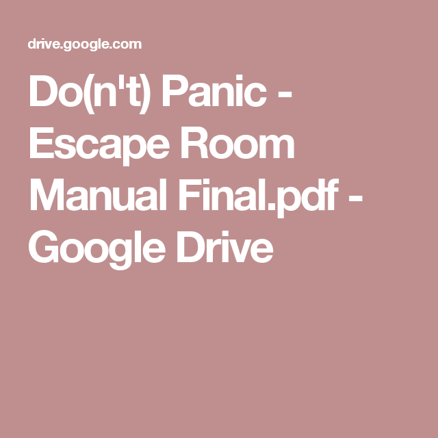 Do N T Panic Escape Room Manual Final Pdf Escape Room Library Activities Escape