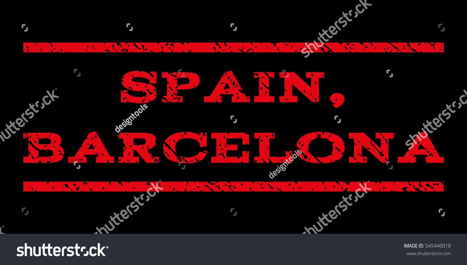 Spain Barcelona Watermark Stamp Text Tag Between