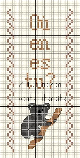 Marque page koala point de croix bordures pinterest - Marque page point de croix grille gratuite ...