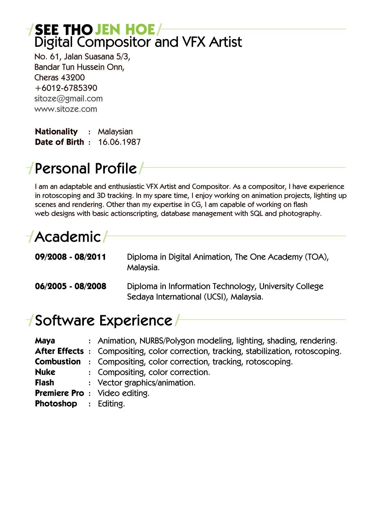 Resume Format Vfx Artist Artist Format Resume Resume Format