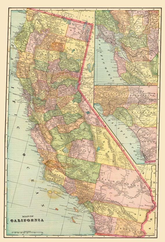Digital Old Map Of California California Printable Poster