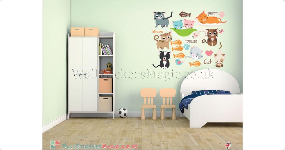 love cats fabric wall sticker decals wall art wall transfers